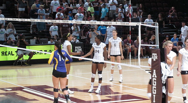 Aggie sophomore outside hitter Sierra Patrick (24) led the Aggies in kills with 15 - Photo by 12th Man QB